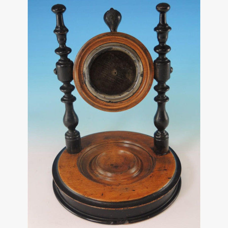 Large Circular Wooden Pocket Watch Stand. c1880