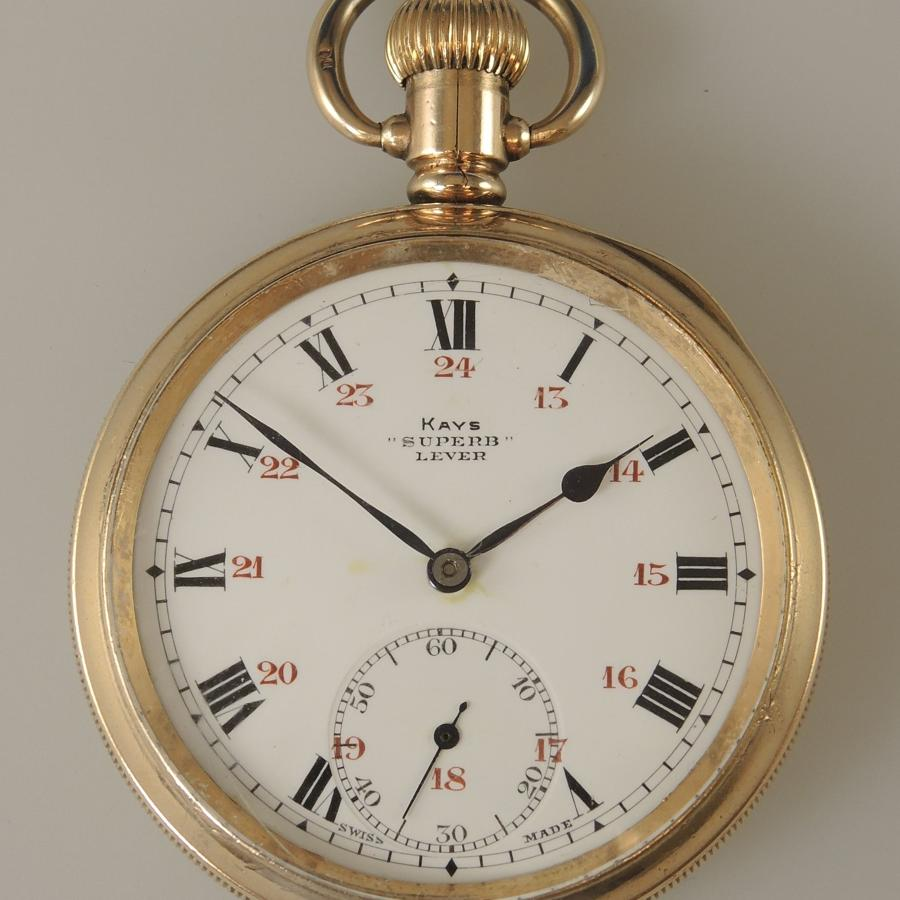 Clean Gold Plated Pocket Watch by Keys with a 24 Hour Dial. c1910