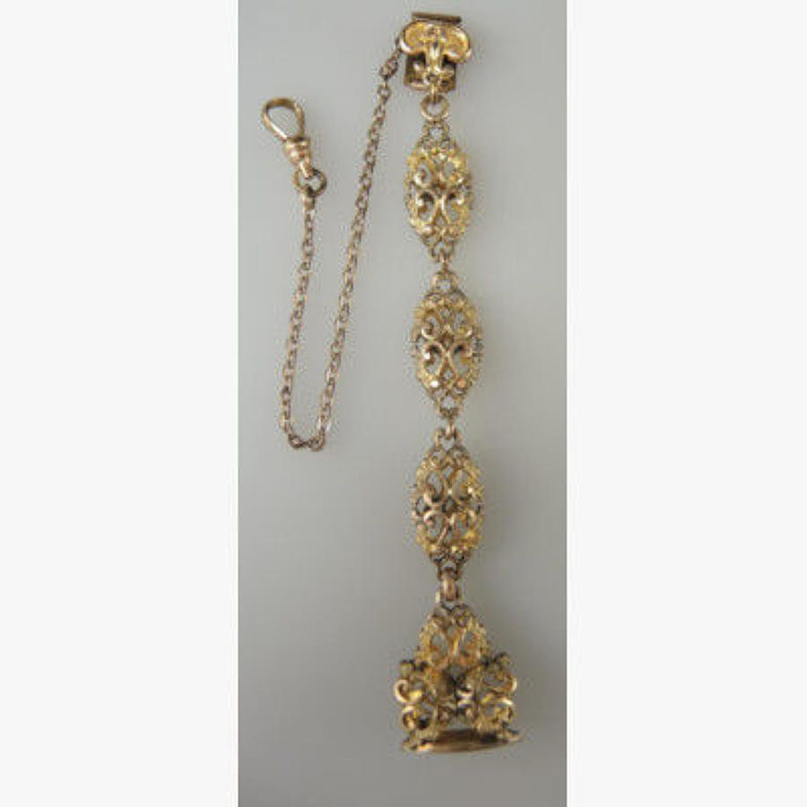 Beautiful Gilt Metal Chatelaine and Matching Seal. Circa 1890