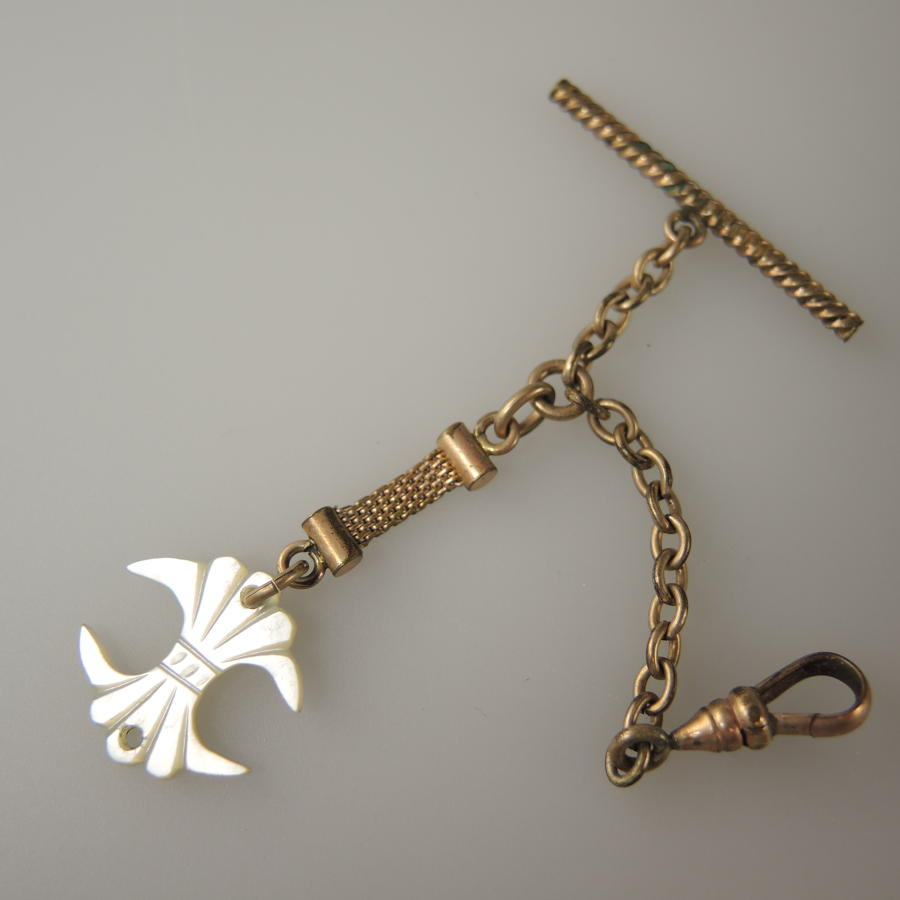 Gilt Watch Chain with a Mother of Pearl Fob. Circa 1890