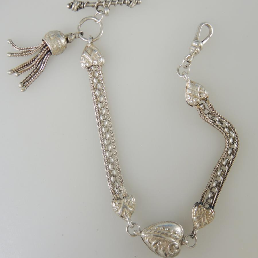 Silver Fancy Albertina with Heart shaped Links. Circa 1890