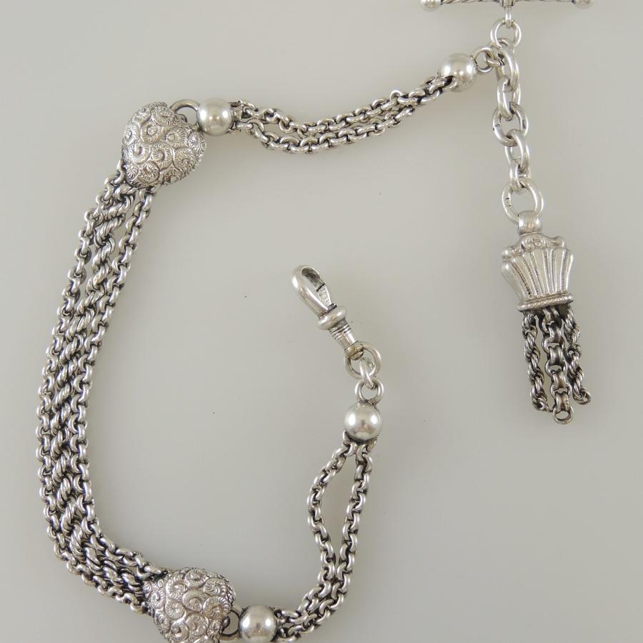 Silver Albertina Pocket Watch Chain. Circa 1890