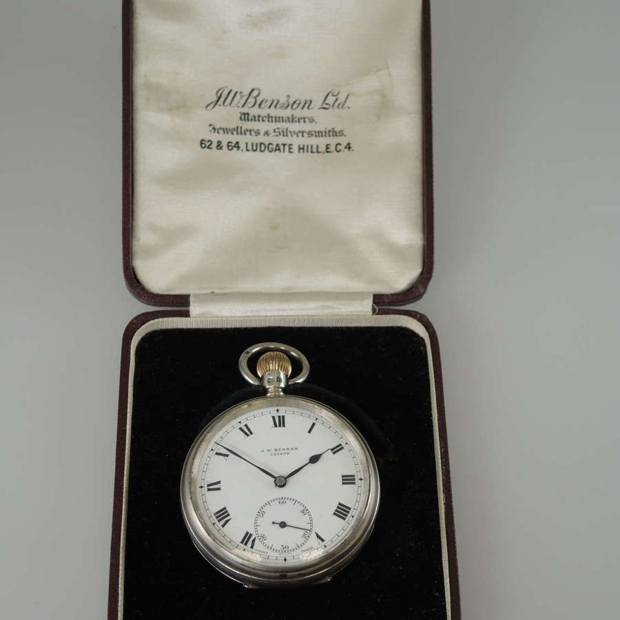 English Silver J W Benson Pocket Watch with original box c 1932