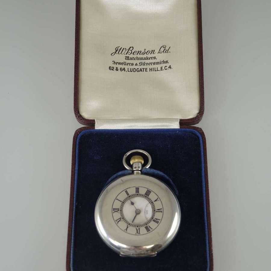 English Silver Half Hunter Pocket Watch by J W BENSON. Orig Box. c1935