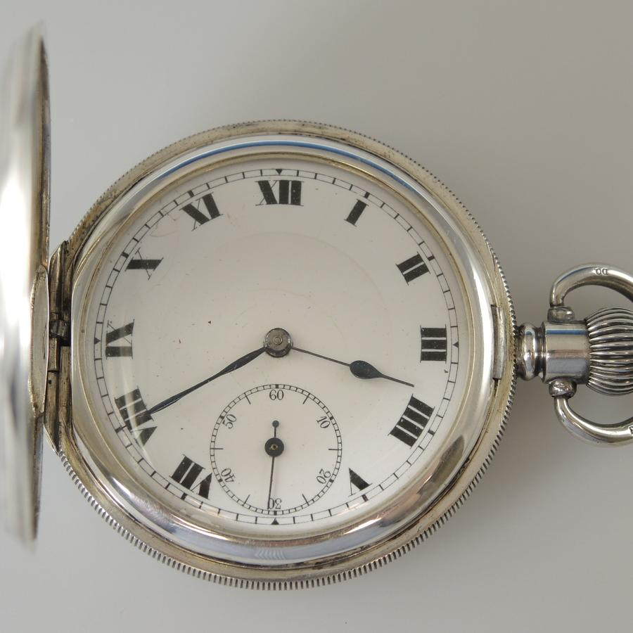 English Silver Hunter Pocket Watch. c 1920