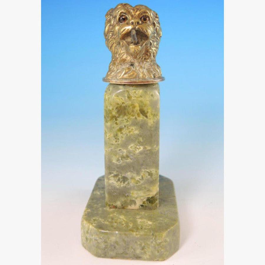 Gilt DOGS Head Pocket Watch Stand. Circa 1890