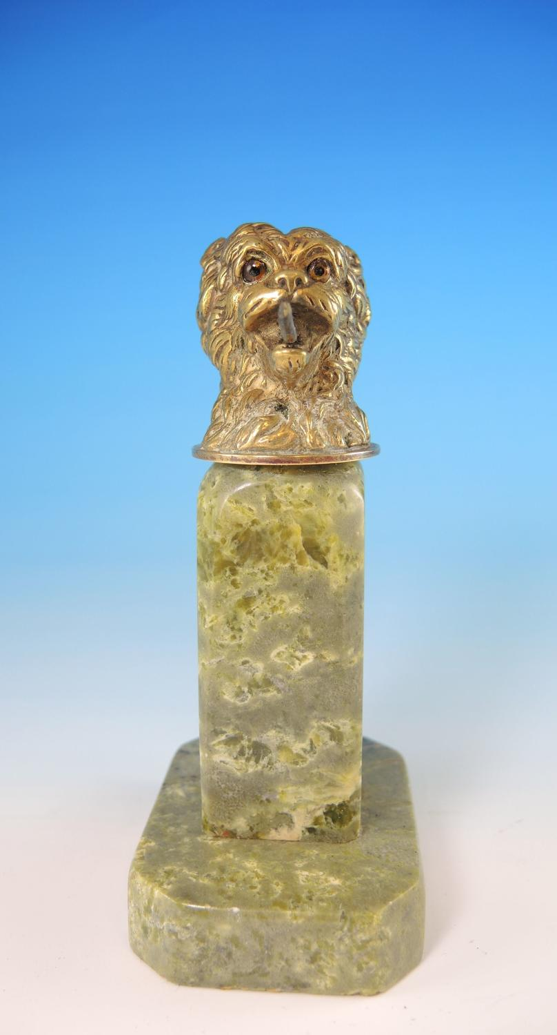 Gilt DOGS Head Pocket Watch Stand. Circa 1890