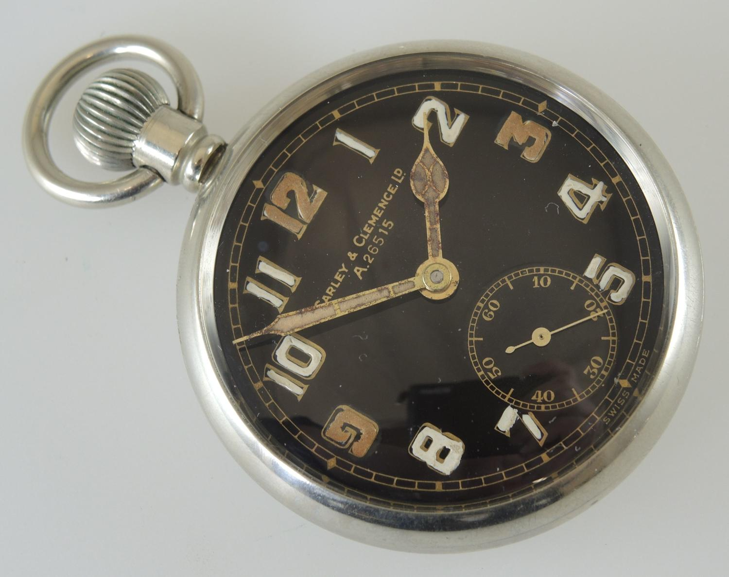 Military Pocket Watch. Carley and Clemence Ltd c1935