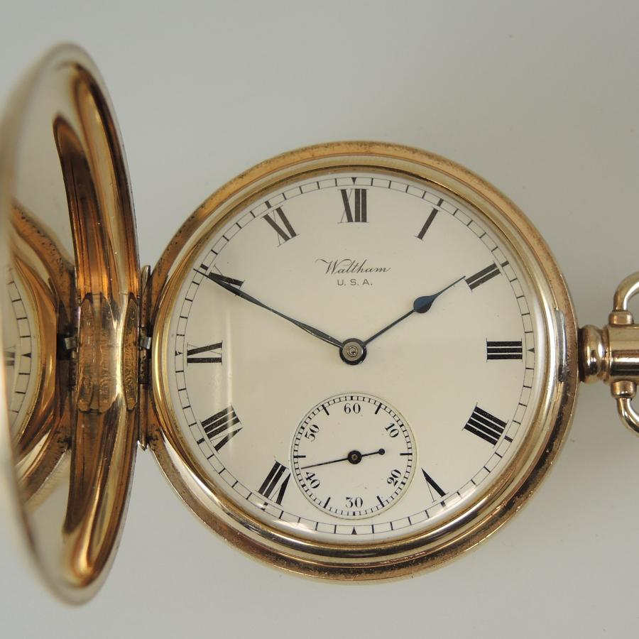 Good Gold plated Waltham hunter pocket watch c1917