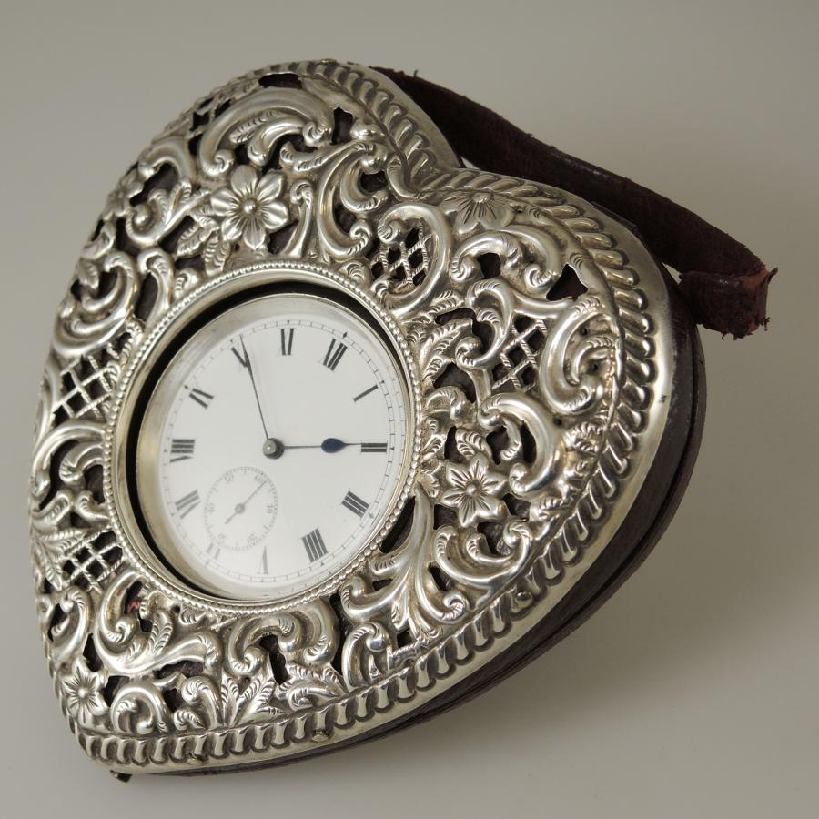 English Silver HEART SHAPED Watch Holder with watch c1910