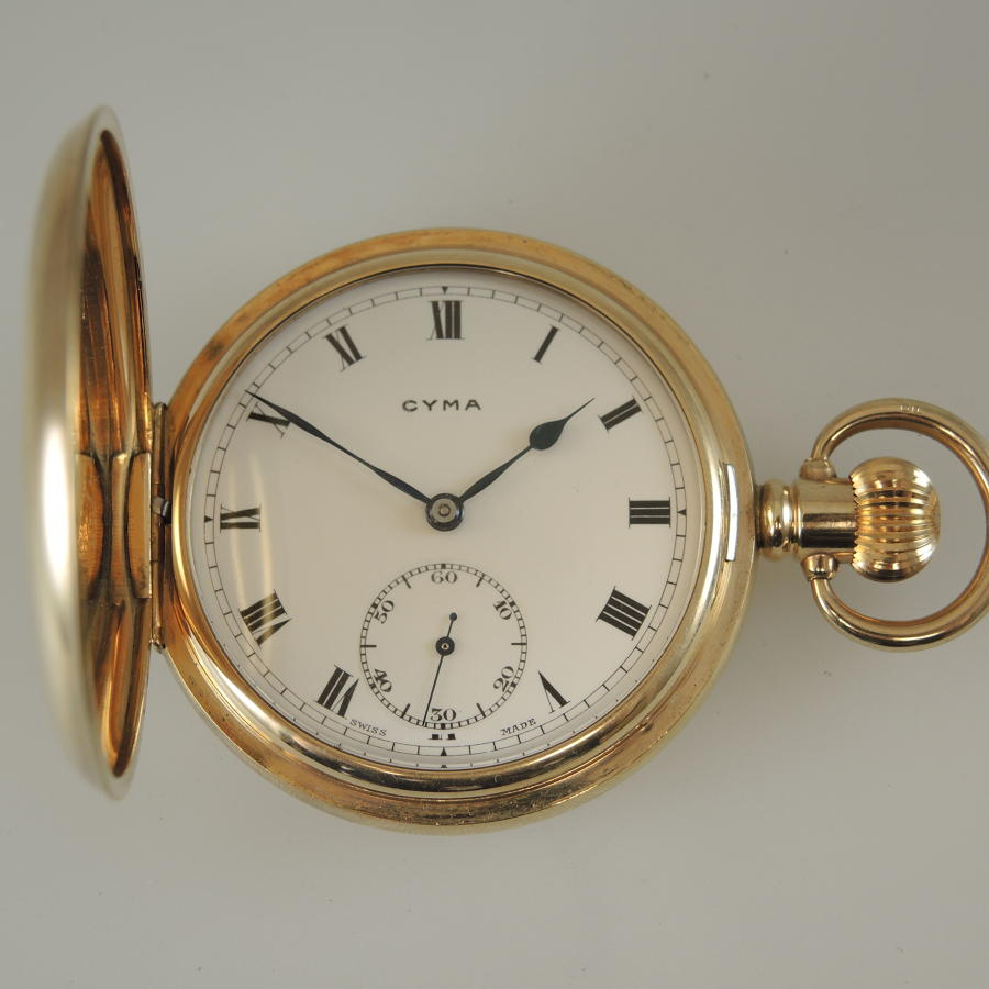 Good Gold plated CYMA hunter pocket watch c1932