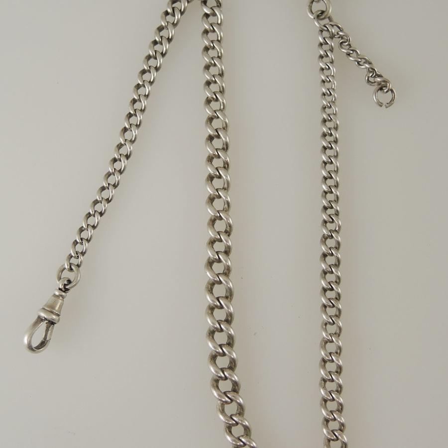 English Silver single watch chain c1894