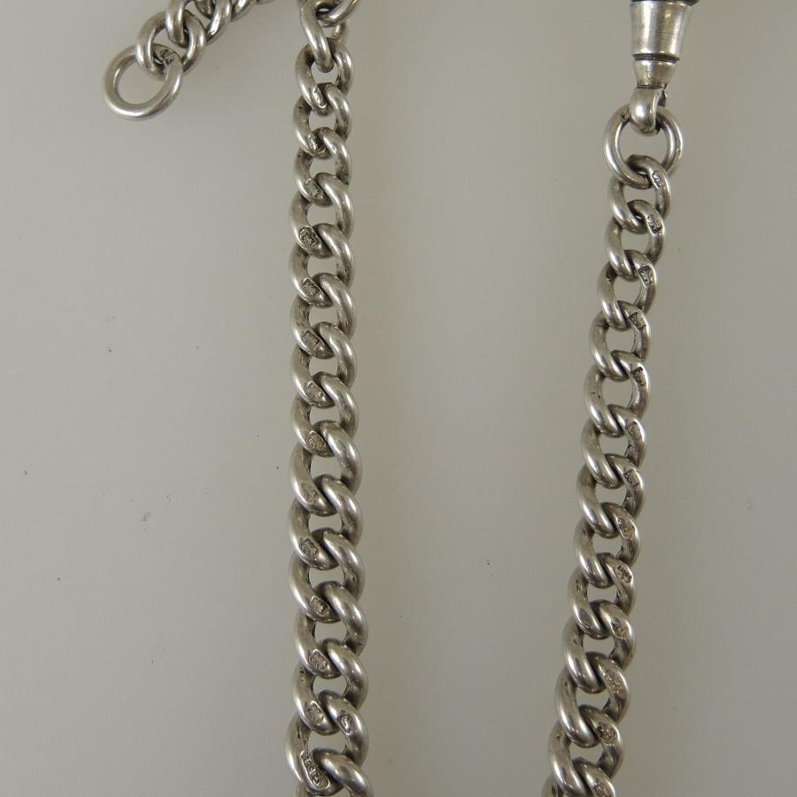 Short English Silver single watch chain for a jacket pocket c1921