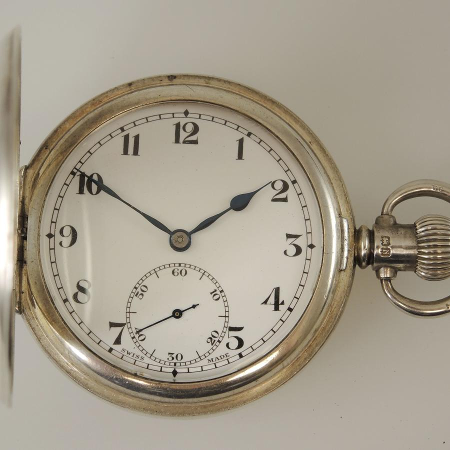 English silver full hunter pocket watch c1937
