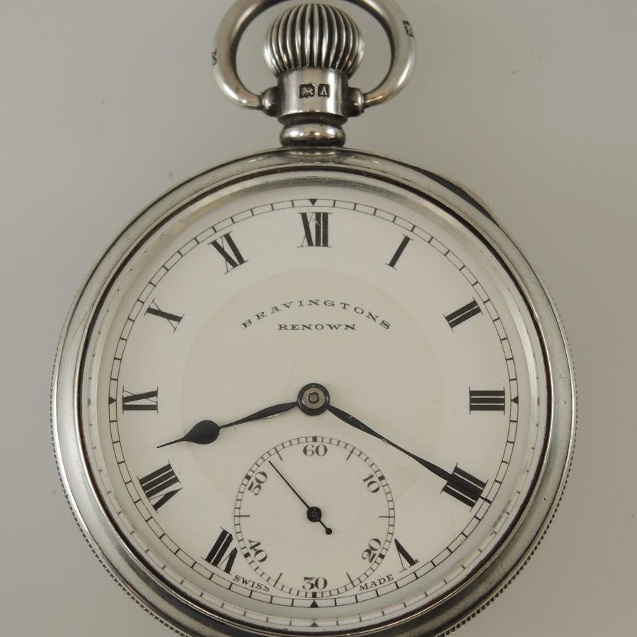 English Silver 23 Jewel Pocket Watch by Bravington c1925