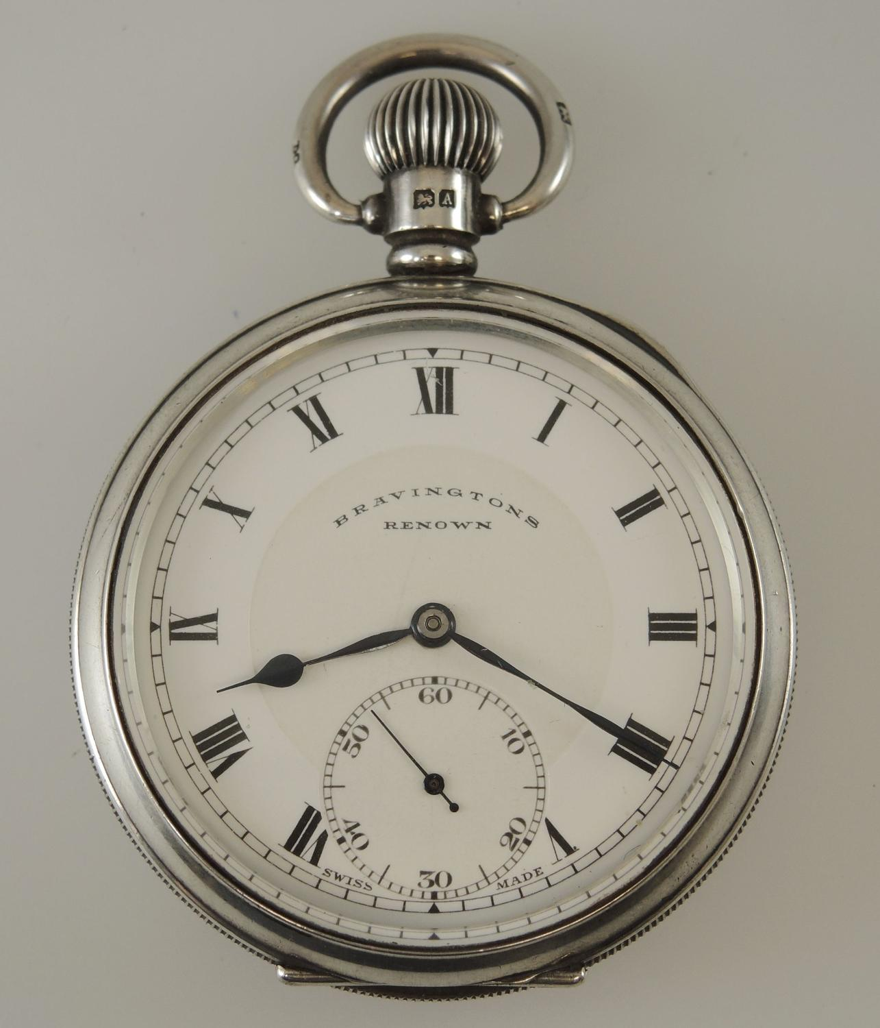 English Silver 23 Jewel Pocket Watch by Bravington c1925