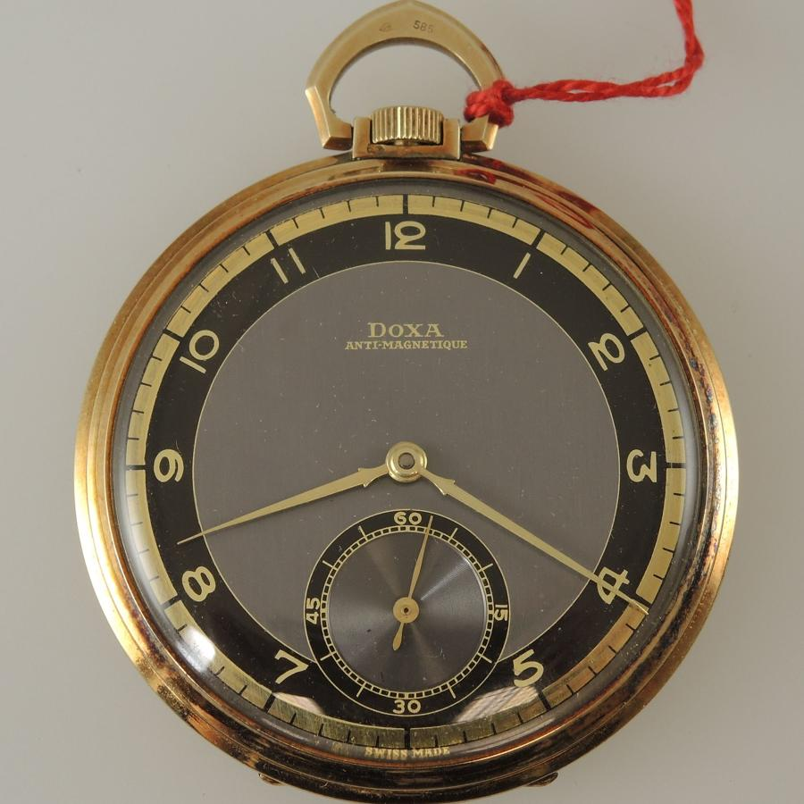 Solid 14K DOXA pocket watch with Box and Tag c1925