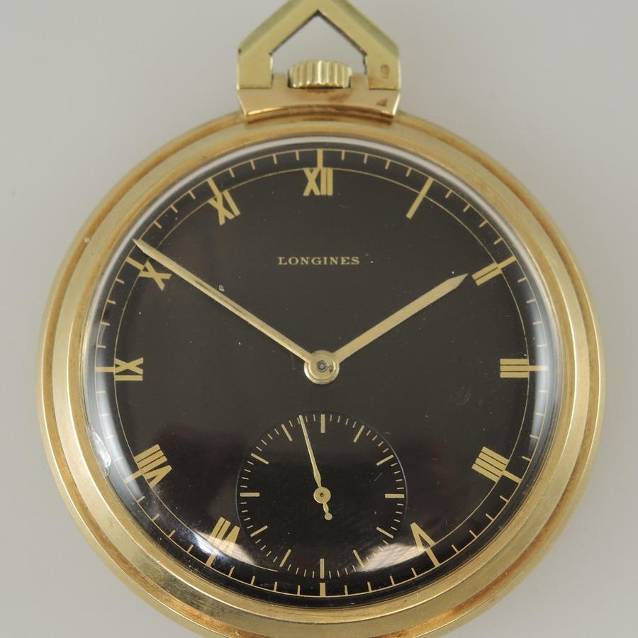 Solid 14K LONGINES pocket watch with Box c1936