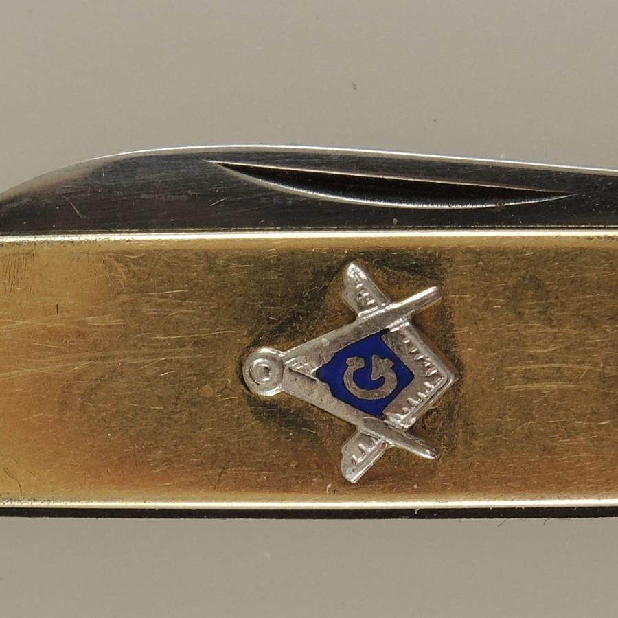 Gold Filled Penknife with MASONIC emblem c1910
