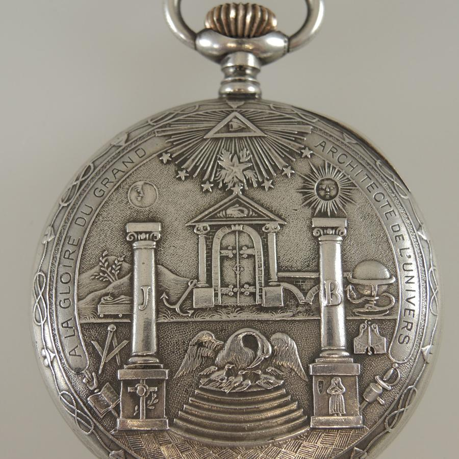 Superb Silver Masonic case and Dial Pocket watch c1910