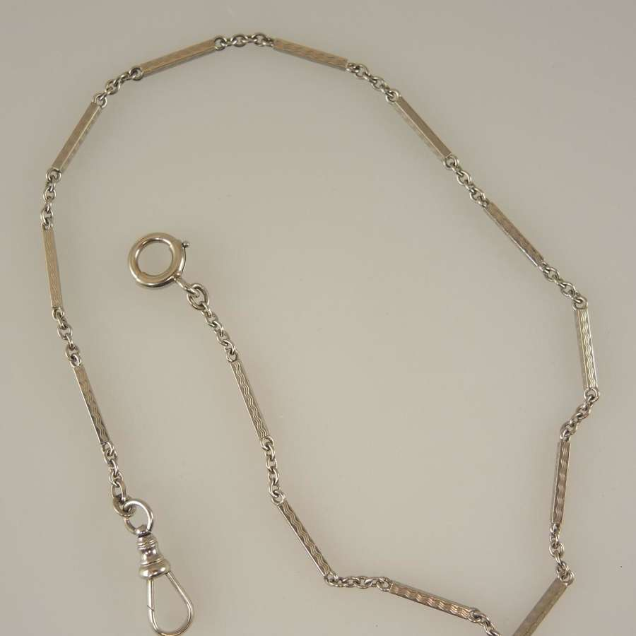 Solid 14K White Gold pocket watch chain c1925