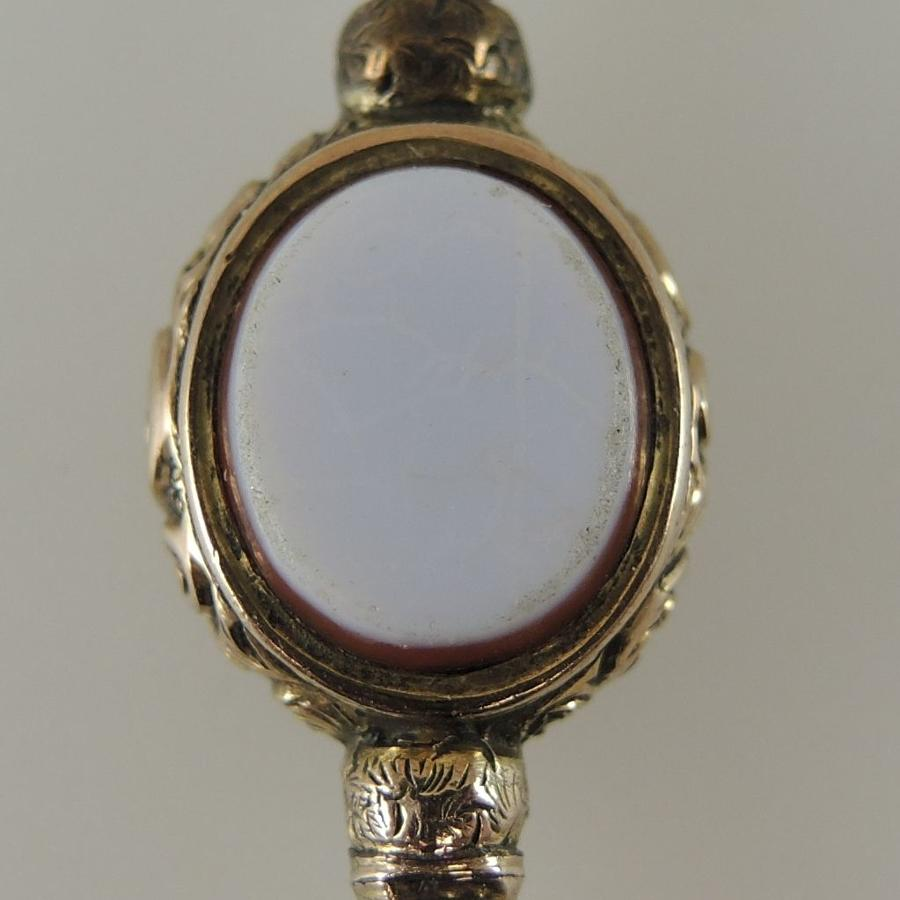 Gilt and stone set pocket watch key c1880
