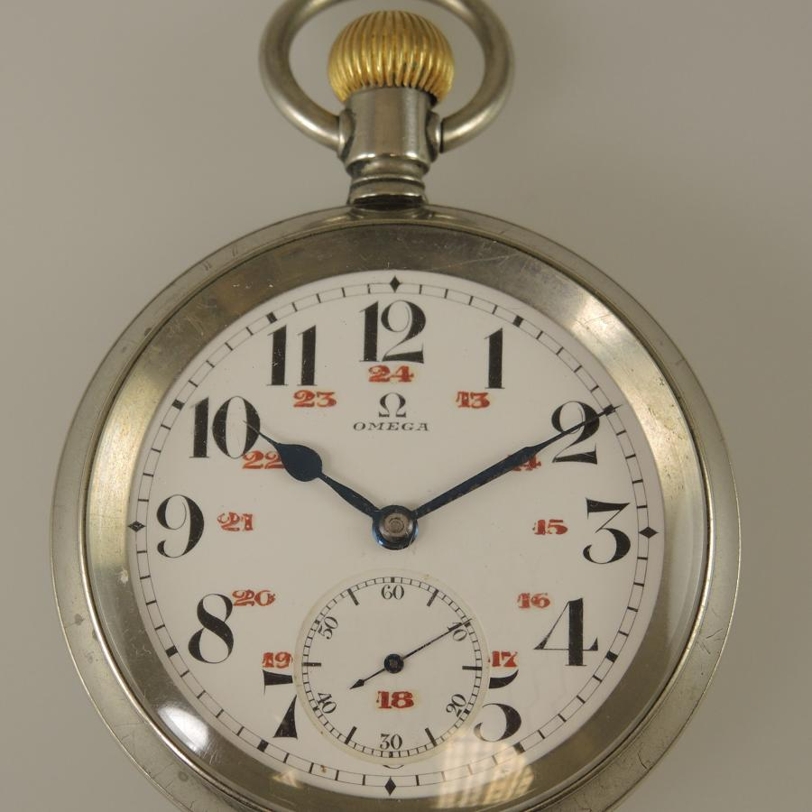 Railroad dial OMEGA Pocket watch c1915