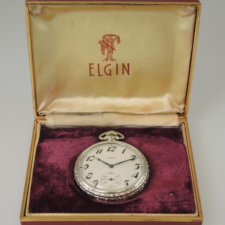 White Gold filled Elgin pocket watch with original box c1922