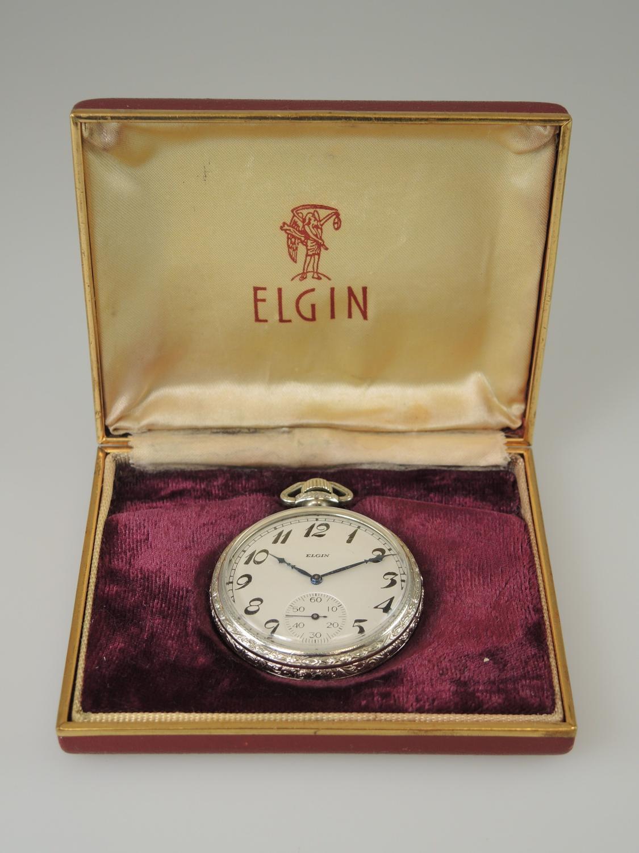 White Gold filled Elgin pocket watch with original box c1922