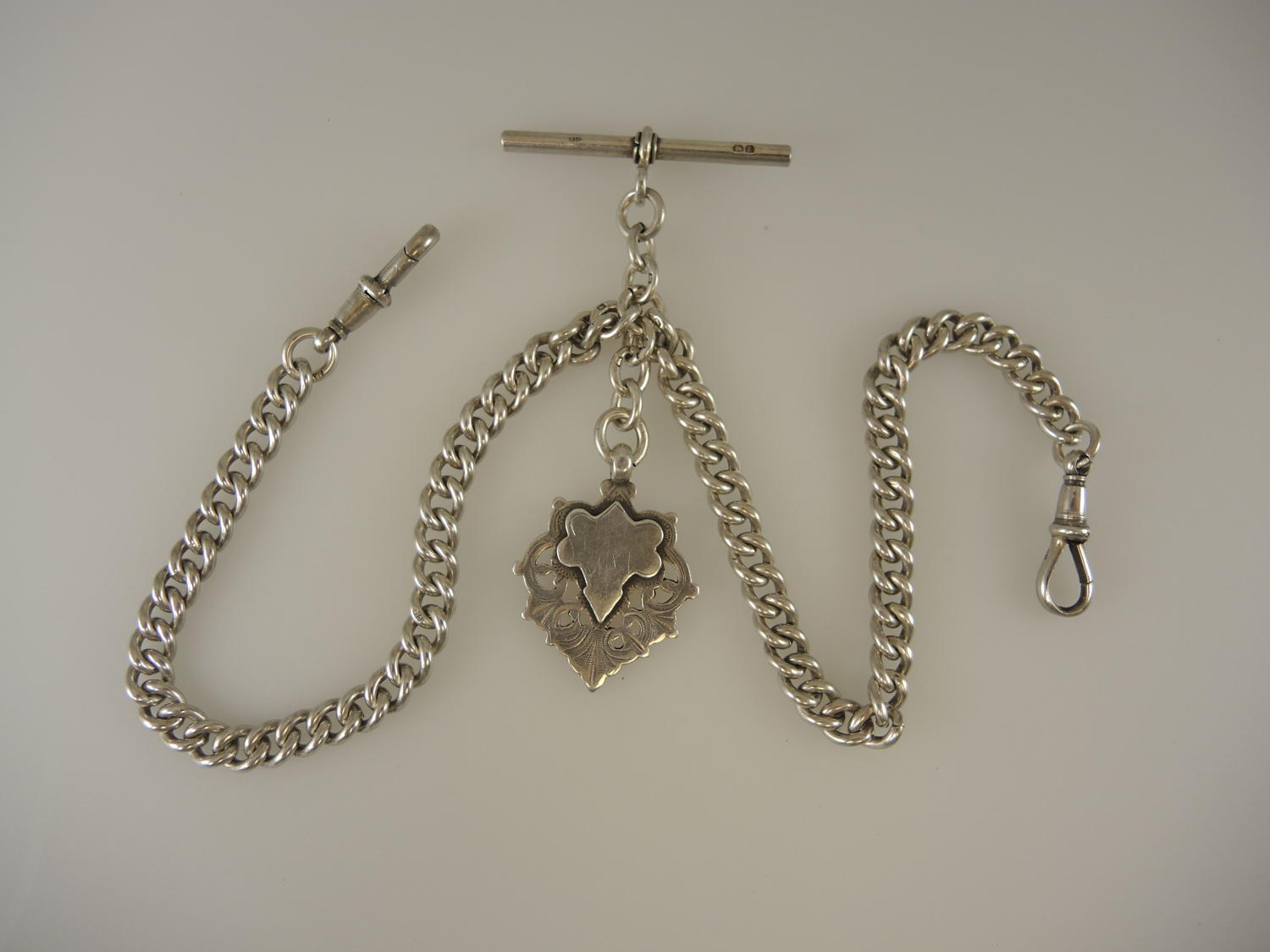 Heavy English Silver Double Watch chain with fob. Birmingham 1924
