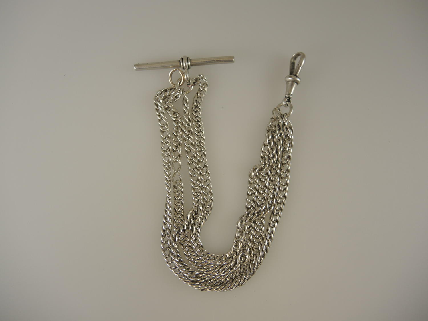English silver multi strand watch chain. Birmingham 1894
