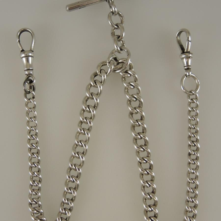 English Silver single or double watch chain. Birmingham 1913