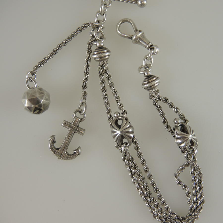 Silver Fancy watch chain c1890