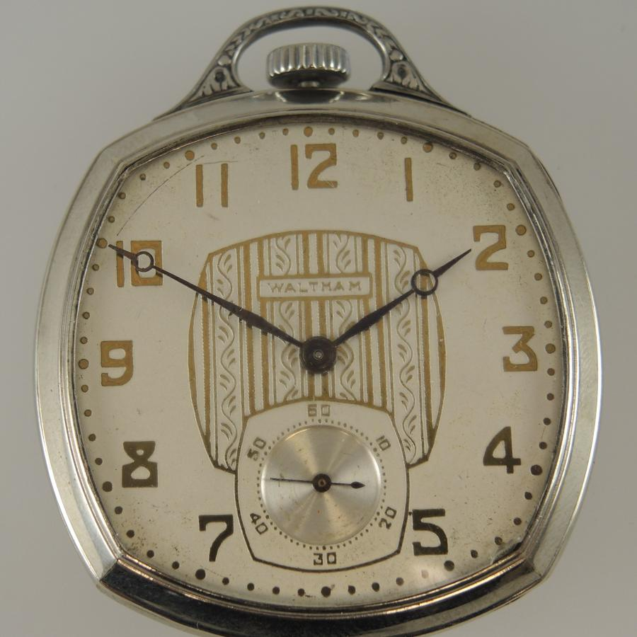 Stylish Square cased pocket watch by Waltham c1928