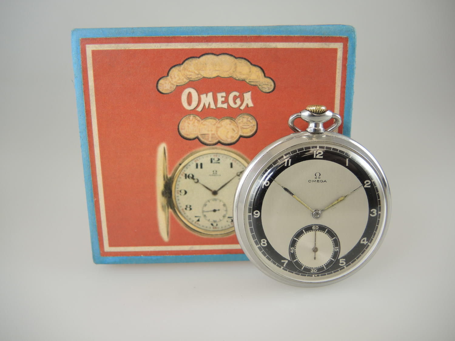 Vintage Omega pocket watch with a Two Tone dial and Box c1939
