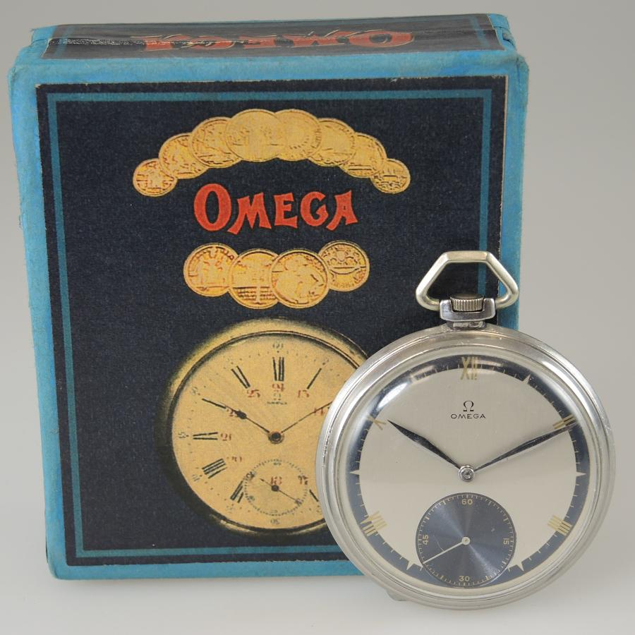 Vintage Omega pocket watch with a Two Tone dial and Box c1929
