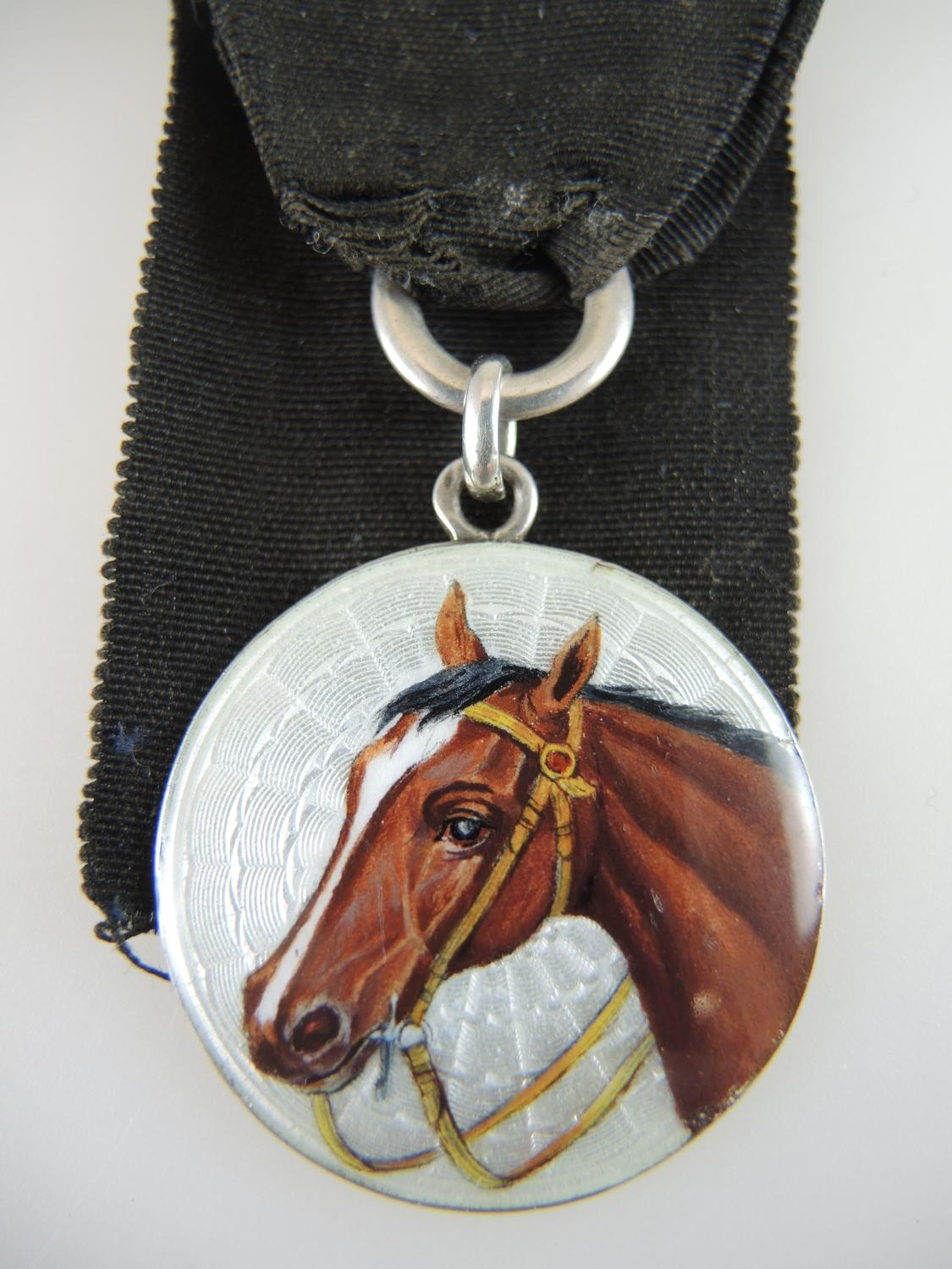 Silver and enamel HORSE Fob c1910