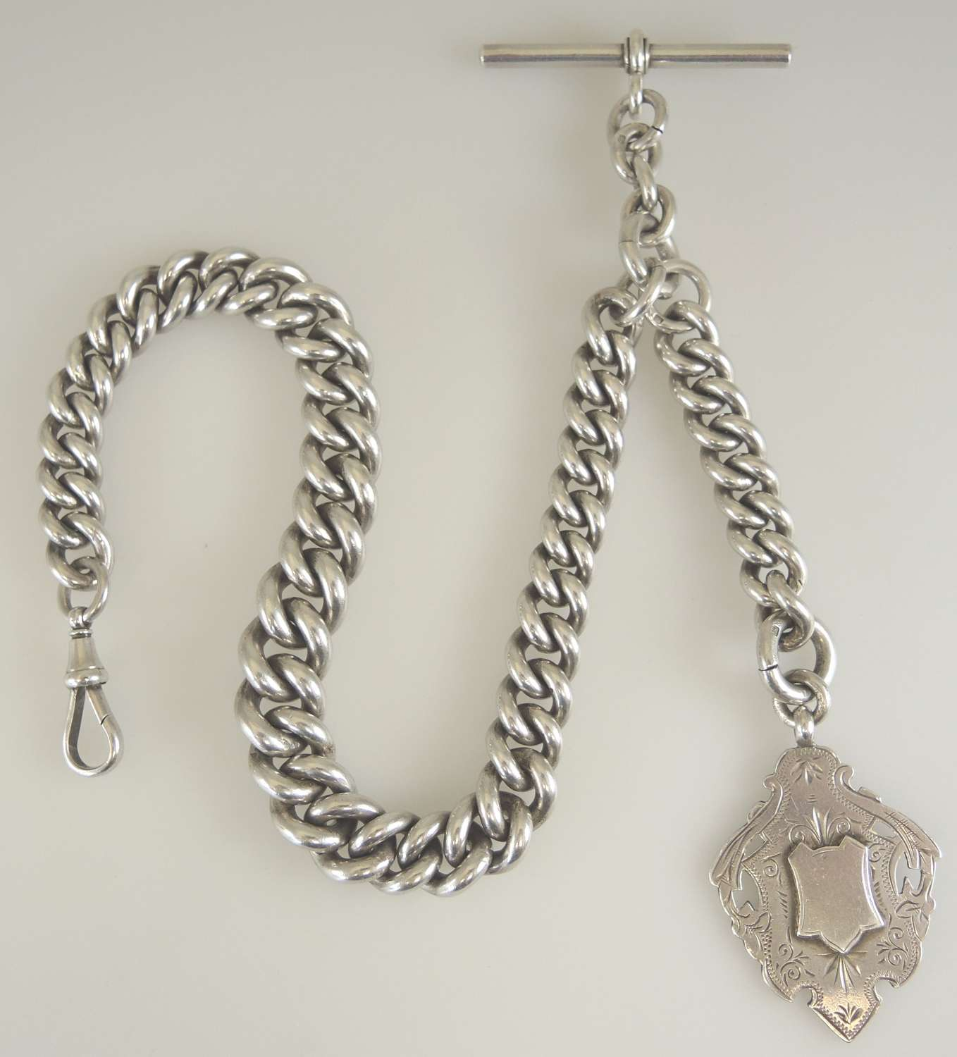 Massive English silver watch chain. Weighs 189g. c1893