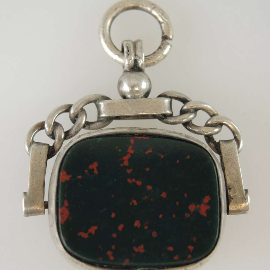 English Silver Bloodstone Swivel Fob. Birmingham 1897