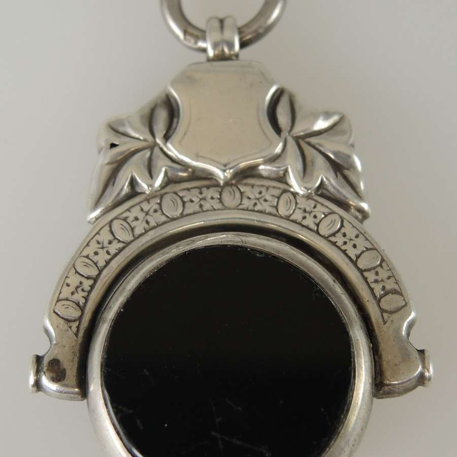 English silver bloodstone swivel fob. Birmingham 1900
