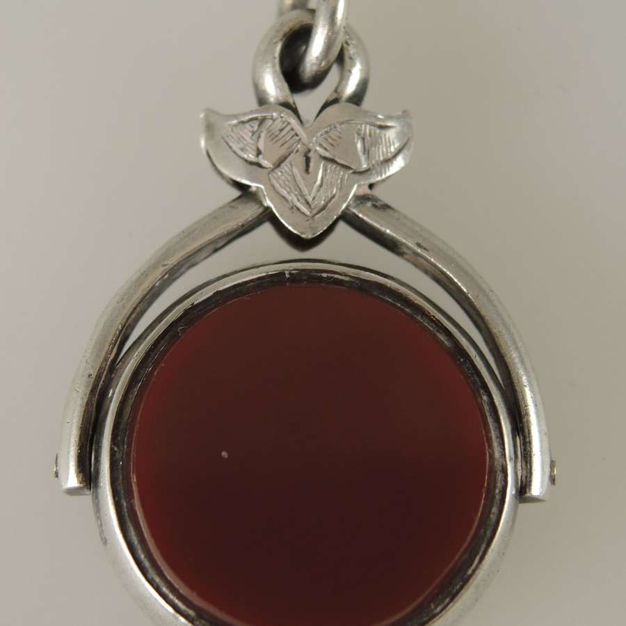 English Silver Bloodstone swivel fob. Birmingham 1908