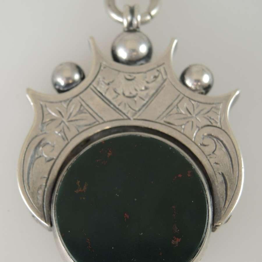 Large English Silver Bloodstone swivel fob. Birmingham 1899