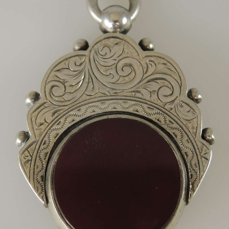 Large English Silver Bloodstone swivel fob. Birmingham 1892