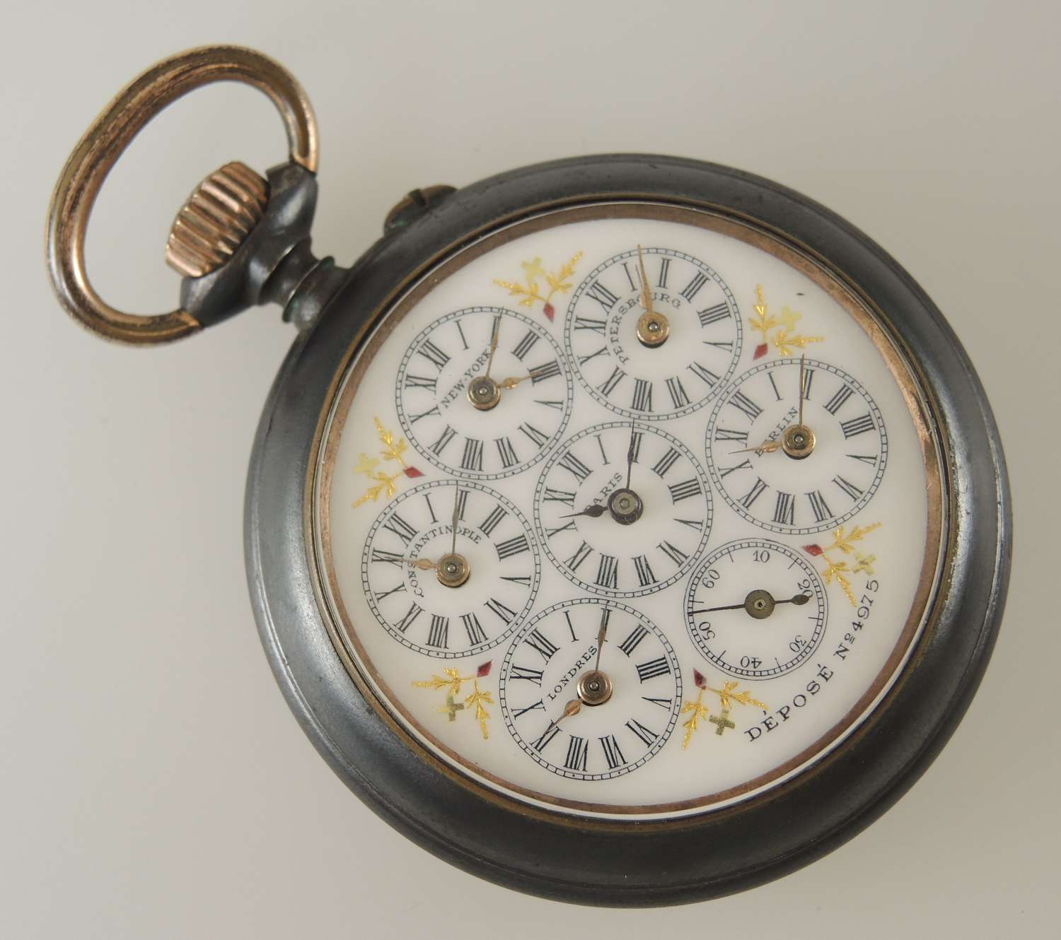 Rare WORLD TIME pocket watch c1890