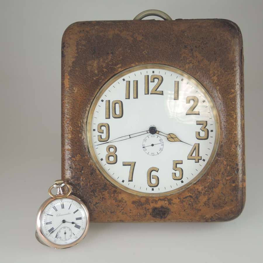MASSIVE 137mm Wide 8 Day Pocket Watch with ORIGINAL Case Circa 1910