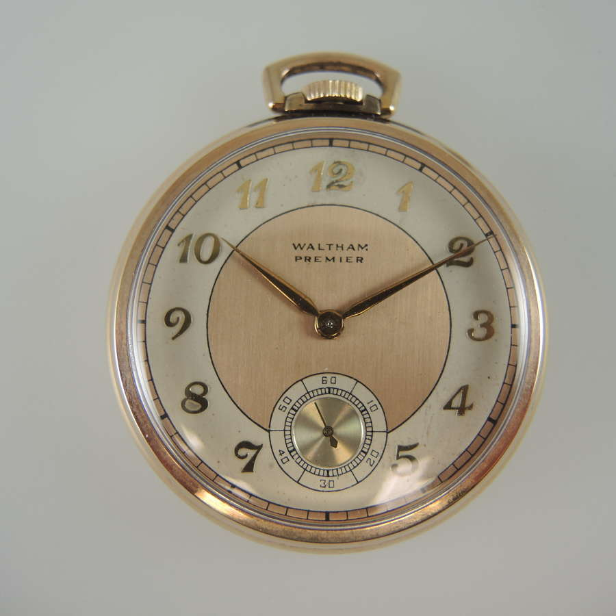 17 Jewel Waltham Crescent St Colonial Model pocket watch c1939