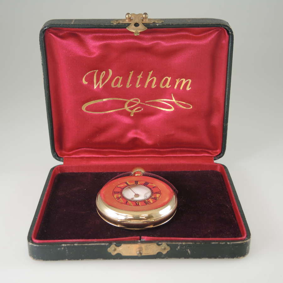 Mint Gold plated Waltham Half Hunter pocket watch With Box c1914