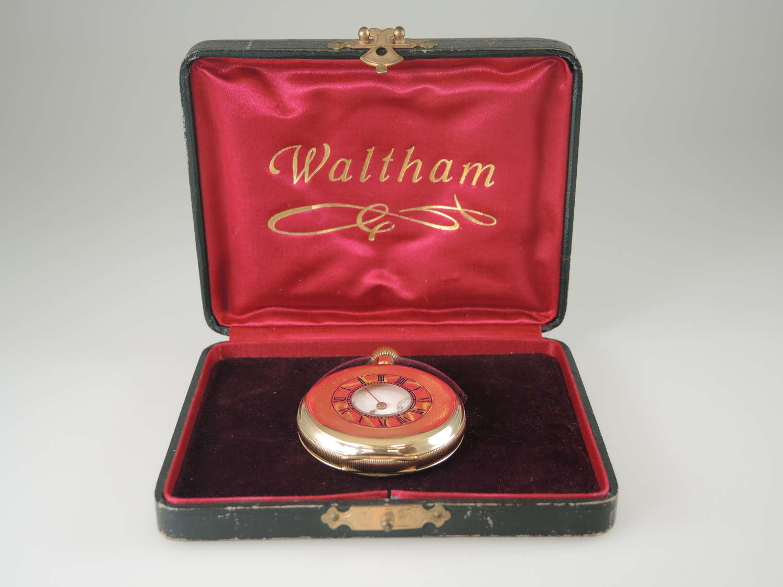 Mint Gold plated Waltham Half Hunter pocket watch With Box c1914