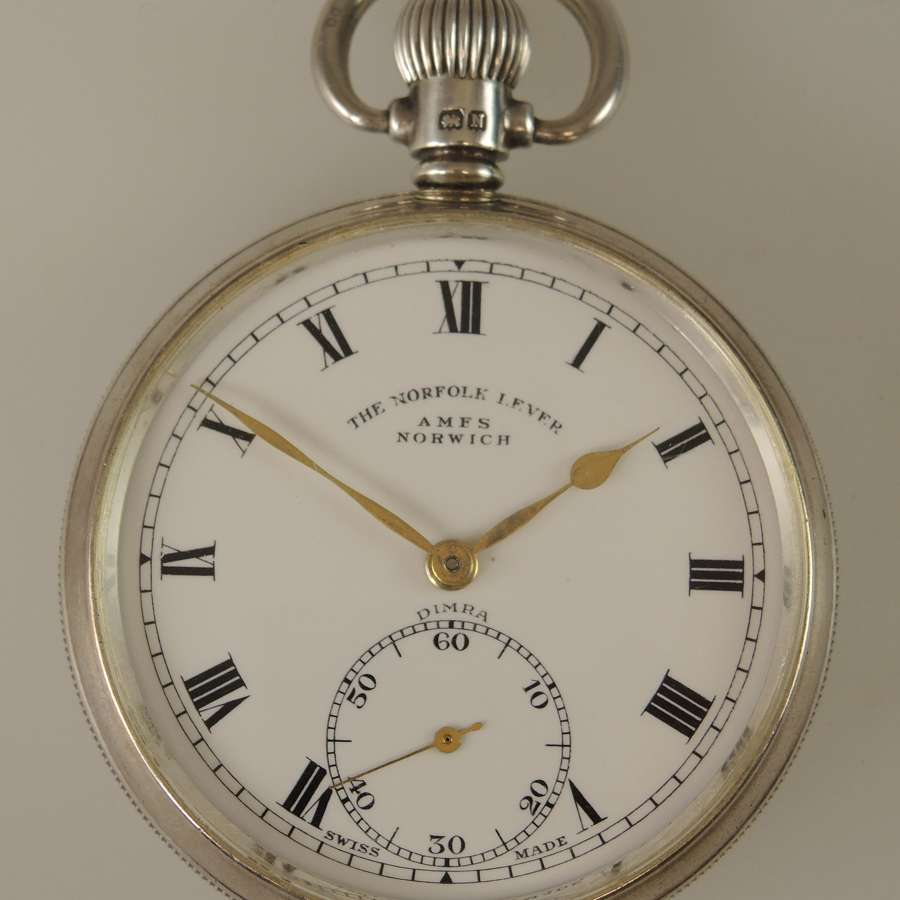 English silver vintage pocket watch made for Norfolk c1937