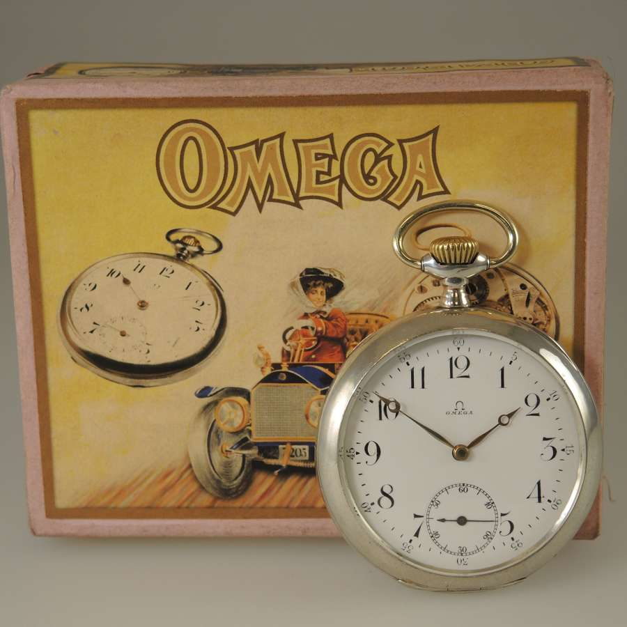 Silver vintage Omega pocket watch. With Box c1915